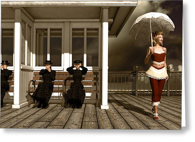 Three Victorian Ladies Sepia Greeting Card by Britta Glodde
