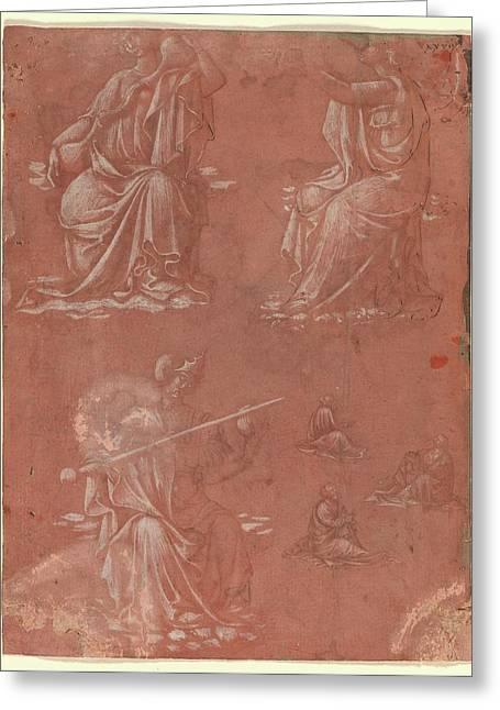 Three Virtues Temperance, Hope Greeting Card by Circle of Lorenzo Monaco