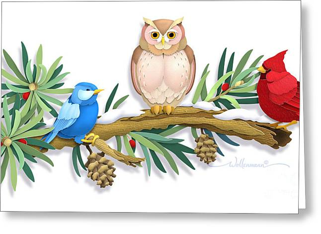 Three Watchful Friends Greeting Card