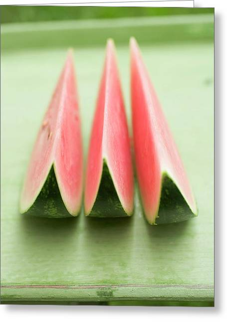 Three Wedges Of Watermelon On Green Table Greeting Card