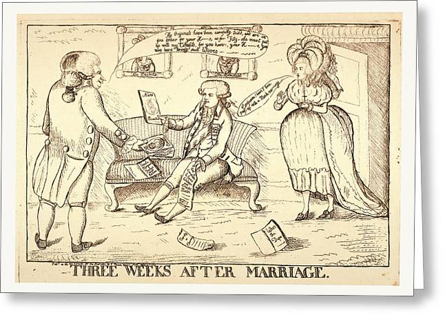 Three Weeks After Marriage, London, 1786 Greeting Card by Welsh School