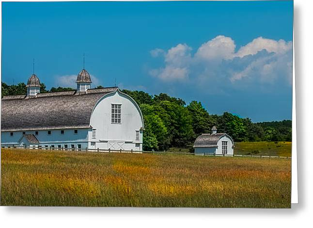 Three White Barns Greeting Card by Paul Freidlund
