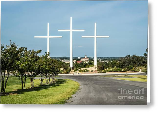 Three White Crosses Greeting Card