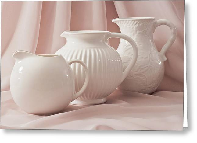 Three White Pitchers Greeting Card by Sandra Foster