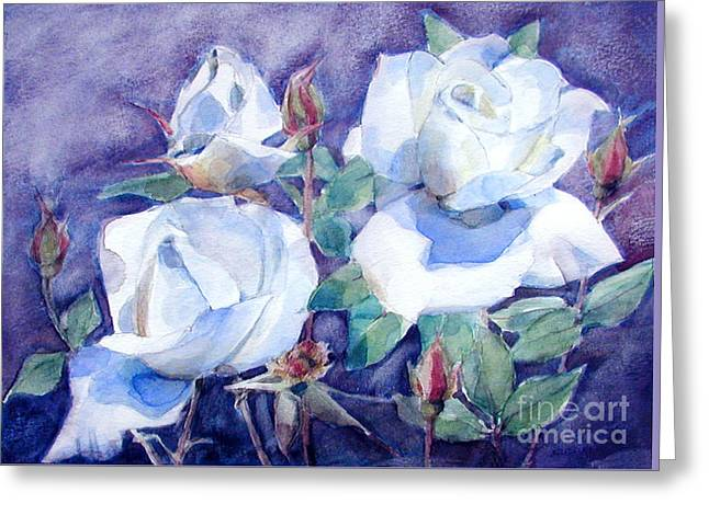 Greeting Card featuring the painting White Roses With Red Buds On Blue Field by Greta Corens