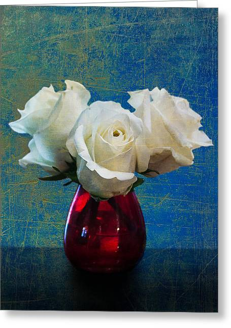 Three White Roses Greeting Card