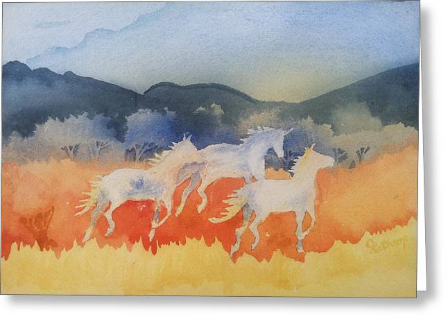 Three Wild Horses Greeting Card