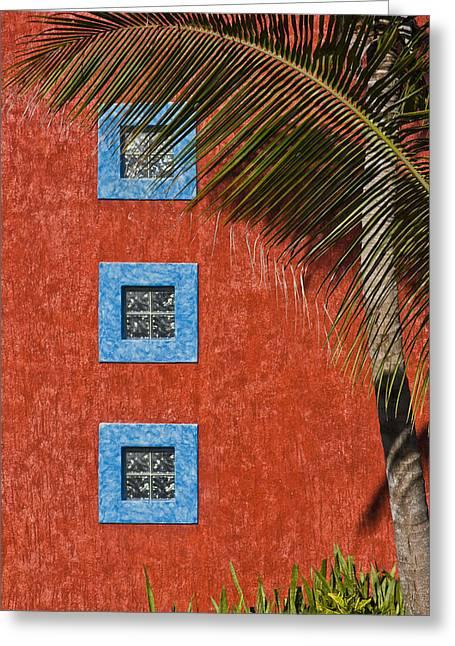 Three Windows Greeting Card by Adam Romanowicz