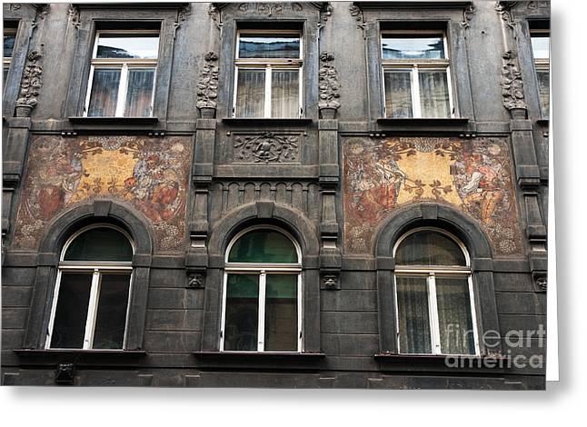Three Windows In Prague Greeting Card by John Rizzuto