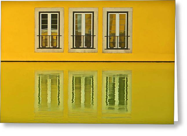 Three Windows Reflecting In The Water Greeting Card