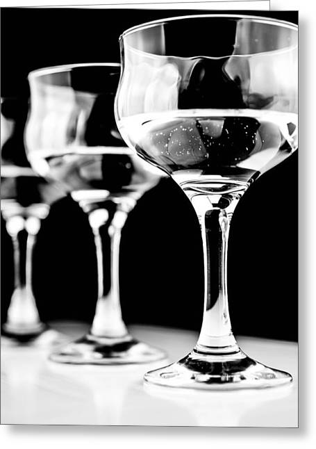 Three Wine Glass In  Greeting Card