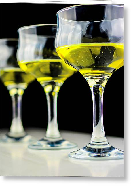 Three Wineglass In Wine Colors Greeting Card