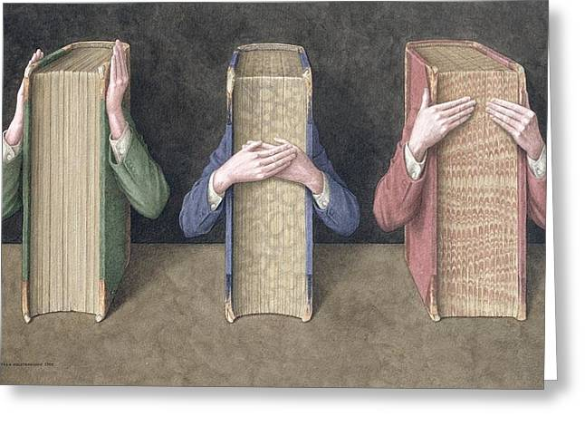 Three Wise Books, 2005 Wc On Paper Greeting Card by Jonathan Wolstenholme