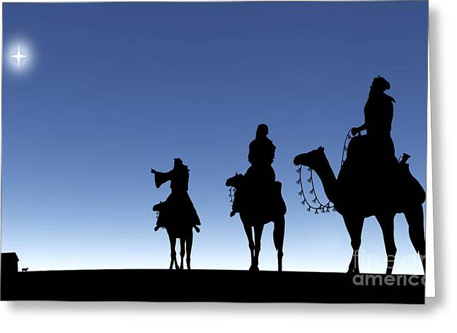 Three Wise Men Following A Star Greeting Card by Kim Freitas