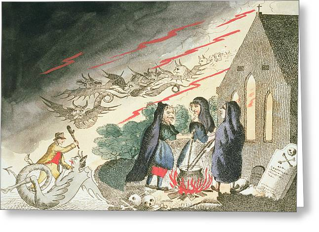 Three Witches In A Graveyard, C.1790s Greeting Card by English School