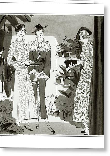 Three Woman In A Garden Wearing Designer Dresses Greeting Card by Jean Pag?s