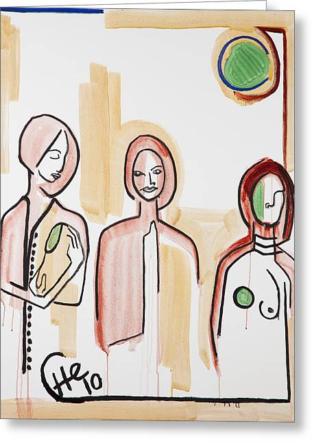 Three Women 40x30 Greeting Card