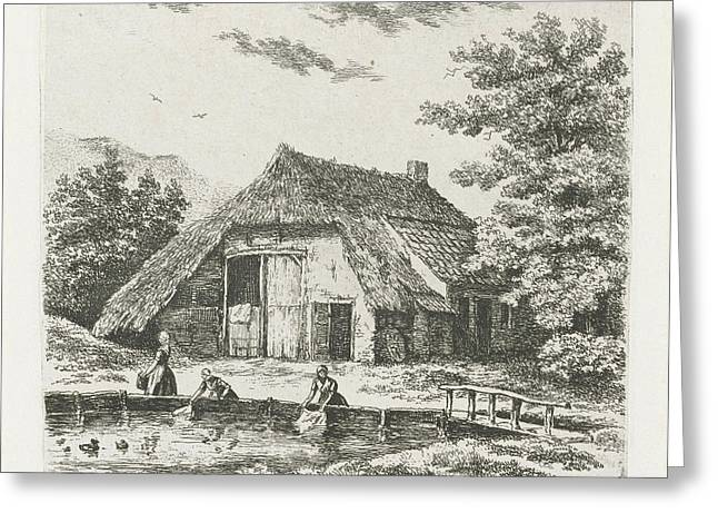 Three Women Doing Laundry In The Water For A Farm In Beek Greeting Card