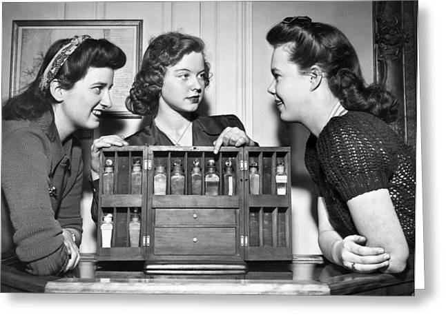 Three Women Examine Exhibit Greeting Card by Underwood Archives