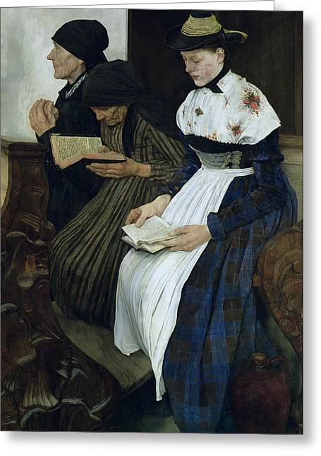 Three Women In Church Greeting Card