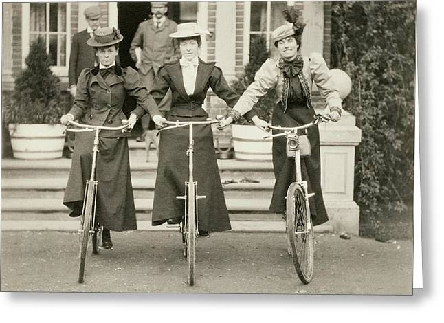 Three Women On Bicycles, Early 1900s Greeting Card by English Photographer