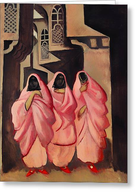 Three Women On The Street Of Baghdad Greeting Card by Mountain Dreams