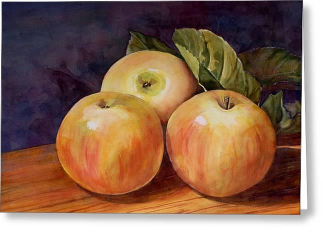 Three Yellow Apples Still Life Greeting Card