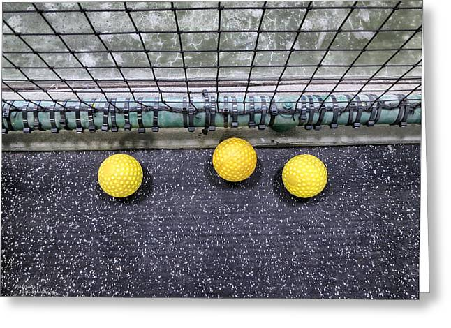 Three Yellow Balls Greeting Card by Patricia Januszkiewicz