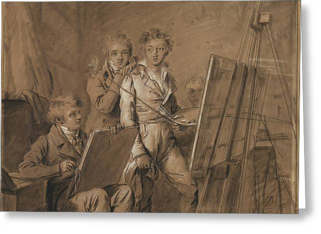 Three Young Artists In A Studio Louis-léopold Boilly Greeting Card