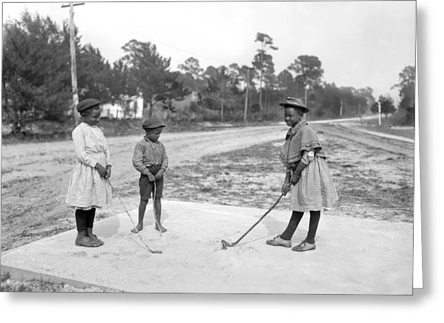 Three Young Children Play Golf Greeting Card by Underwood Archives