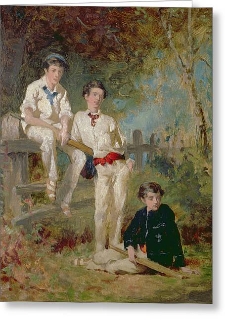 Three Young Cricketers, C.1883 Greeting Card by George Elgar Hicks