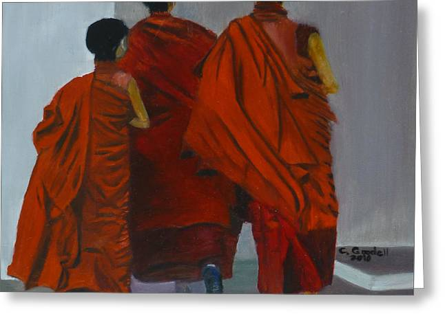 Three Young Monks Greeting Card