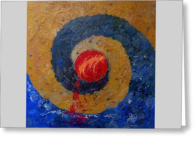 Greeting Card featuring the painting Threefold Anguish by Gigi Dequanne