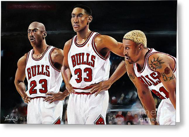 Threepeat - Chicago Bulls - Michael Jordan Scottie Pippen Dennis Rodman Greeting Card by Prashant Shah