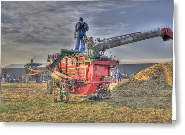 Threshing At Rollag Greeting Card by Shelly Gunderson