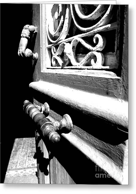 Greeting Card featuring the photograph Through An Open Door Into Darkness by Vicki Spindler