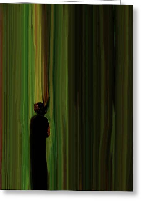 Through The Curtain Greeting Card by John Hesley