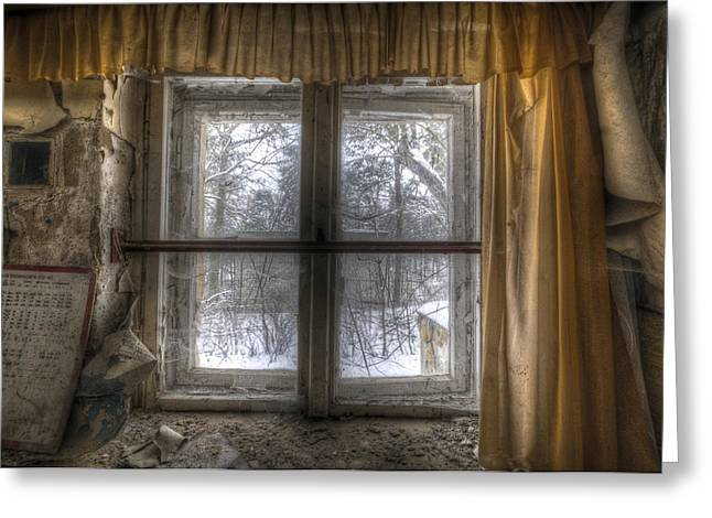 Through The Dirty Window Greeting Card by Nathan Wright
