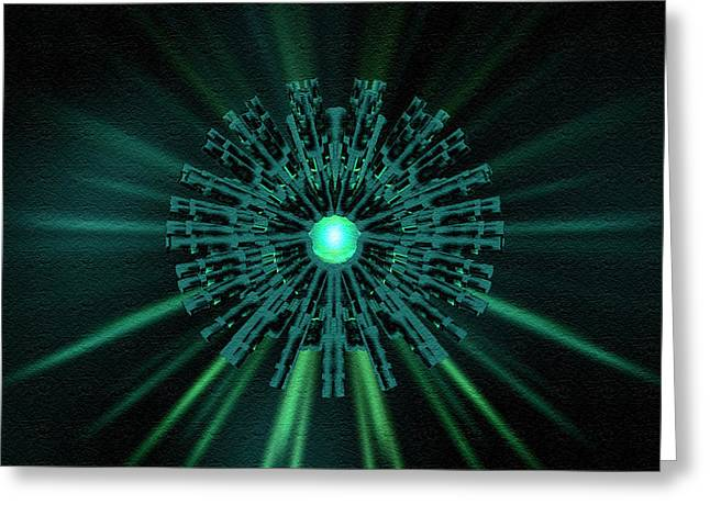 Greeting Card featuring the digital art Through The Emerald Eye by Charmaine Zoe