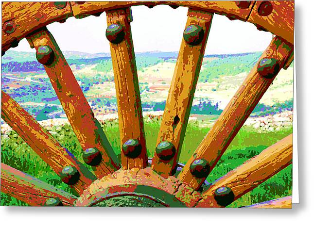 Greeting Card featuring the photograph Through The Old Wheel by Marwan Khoury