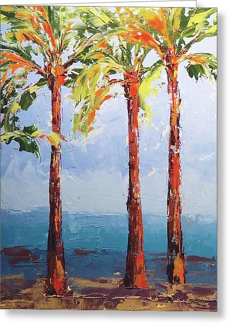 Through The Palms Greeting Card by Leslie Saeta