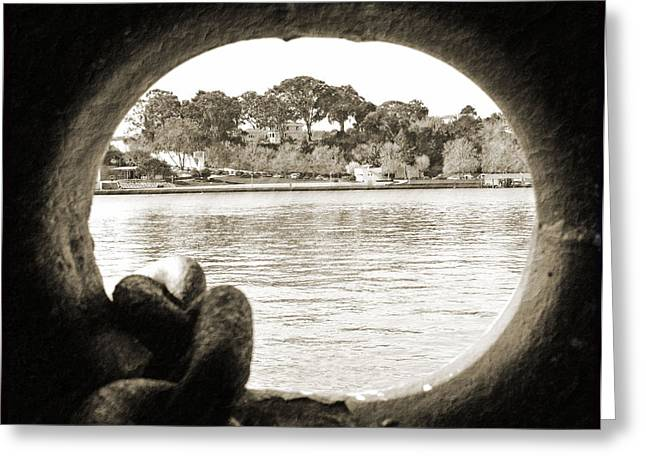 Through The Porthole Greeting Card by Holly Blunkall