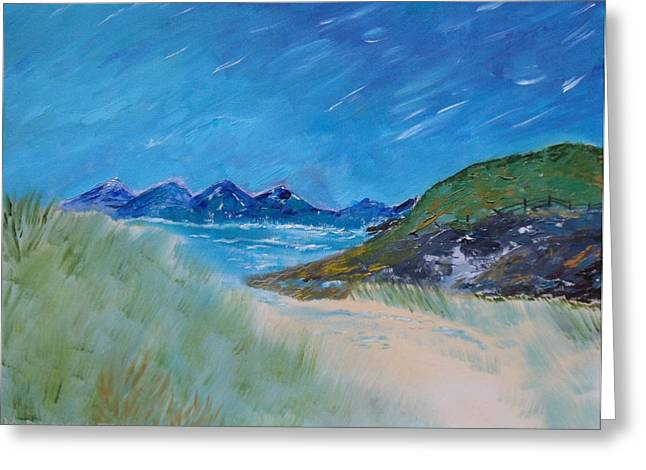 Greeting Card featuring the painting Through The Sand Dunes by Martin Blakeley