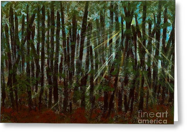 Through The Trees Greeting Card by Hillary Binder-Klein