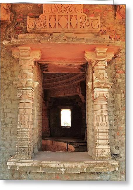When Windows Become Art - Jain Temple - Amarkantak India Greeting Card by Kim Bemis