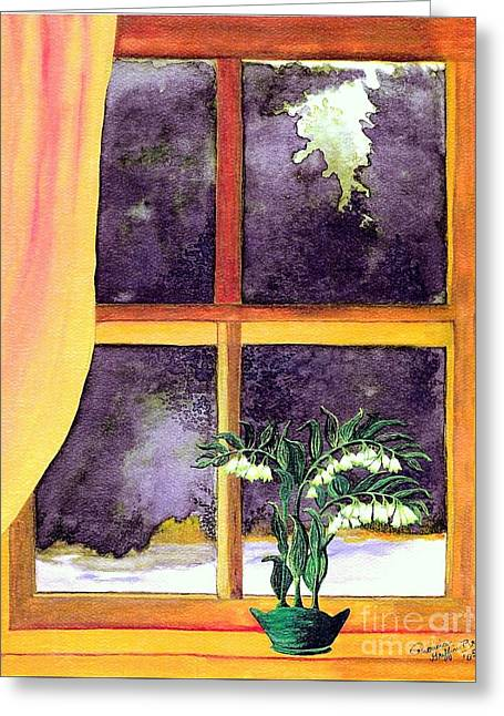 Greeting Card featuring the painting Through The Window by Patricia Griffin Brett