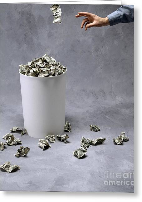 Throwing Us Currency Into A Bin Greeting Card