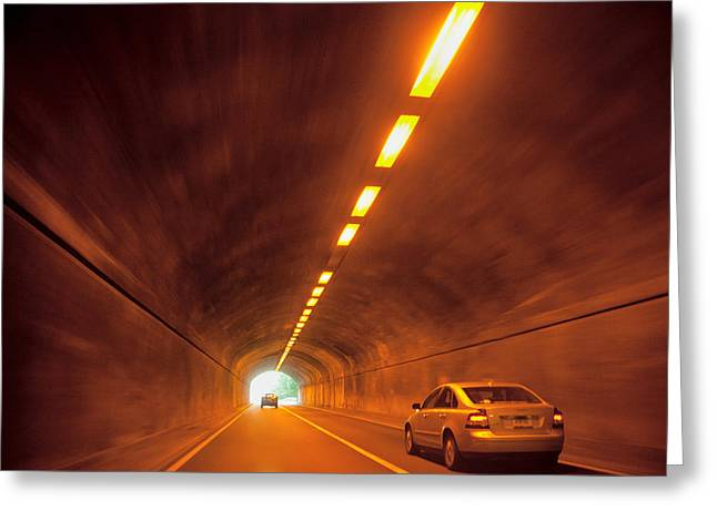 Thru The Tunnel Greeting Card by Karol Livote