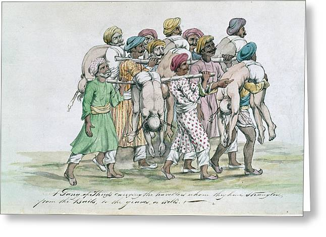 Thugs Carrying Dead Travellers Greeting Card by British Library