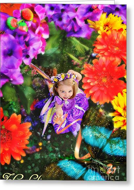 Thumbelina Looks Up Holding Her Butterfly In Fairy Tale Garden Greeting Card by Fairy Tales Imagery Inc